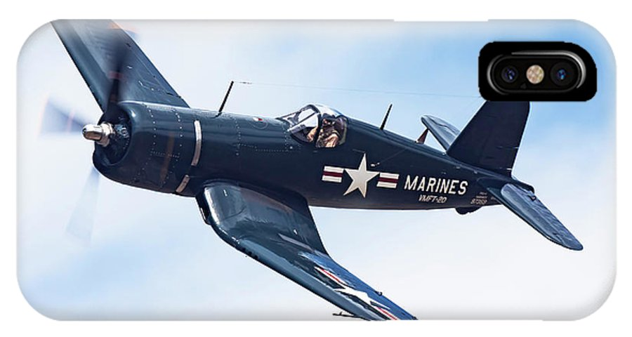 Airplane IPhone X Case featuring the photograph Corsair In Flight by Rick Pisio