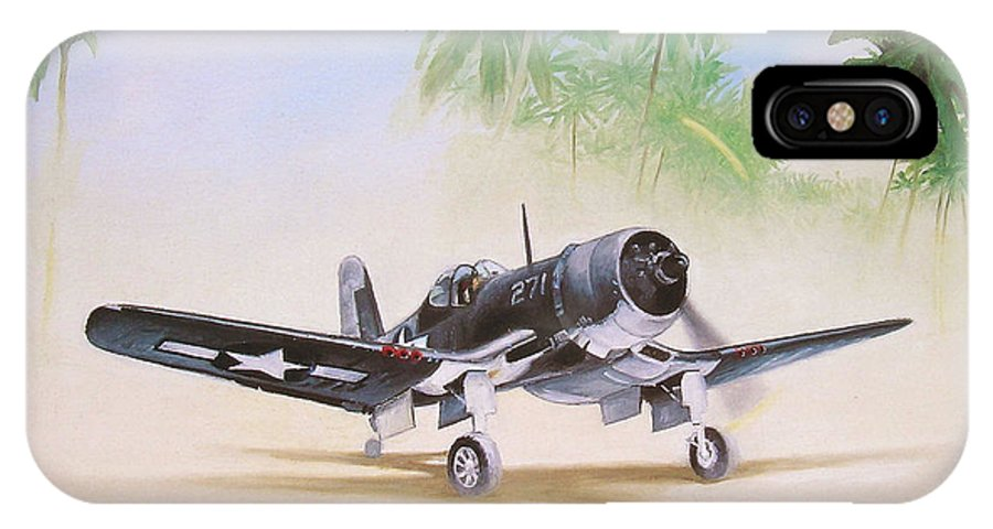 Aviation IPhone X / XS Case featuring the painting Corsair Preflight by Marc Stewart