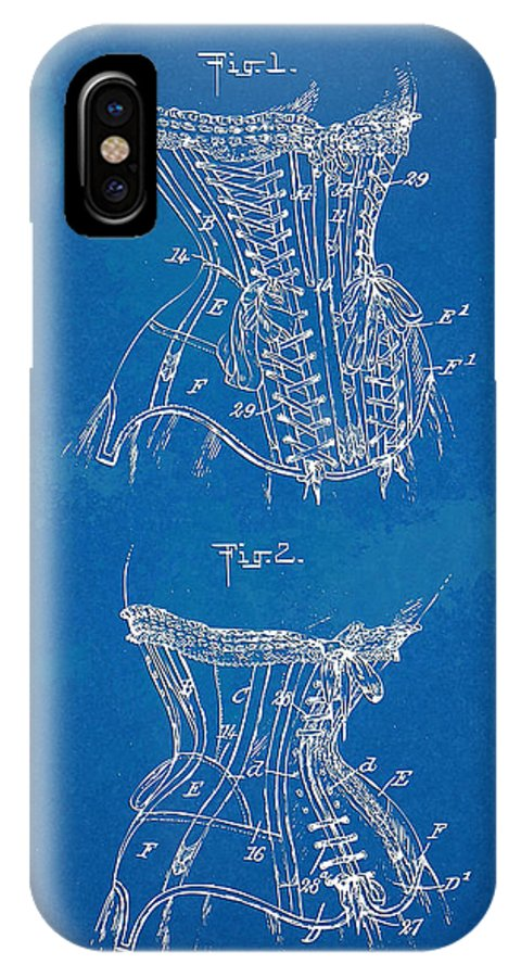 Corset IPhone X Case featuring the digital art Corset Patent Series 1908 by Nikki Marie Smith