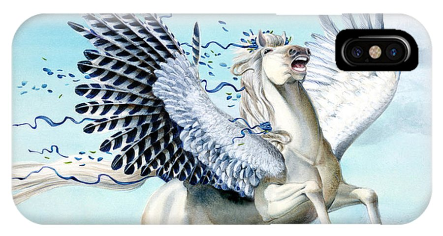 Artwork IPhone X Case featuring the painting Cory Pegasus by Melissa A Benson