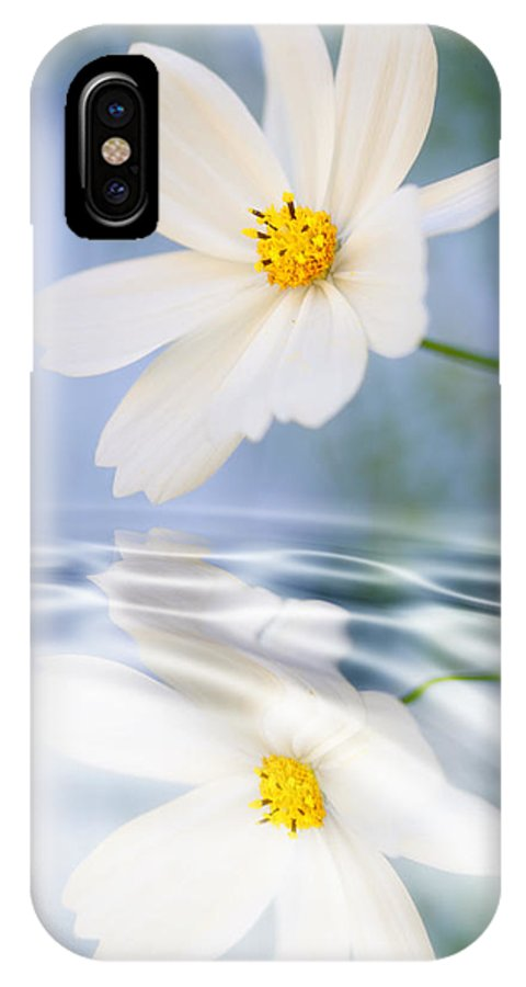 Cosmea IPhone X Case featuring the photograph Cosmea Flower - Reflection In Water by Silke Magino