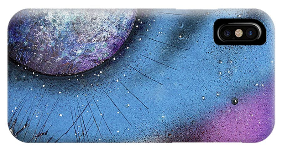 Moon IPhone X Case featuring the painting Cosmic Moon by Laura Barbosa