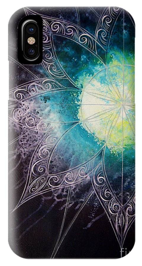 Cosmic IPhone X Case featuring the painting Cosmic Starburst by Reina Cottier