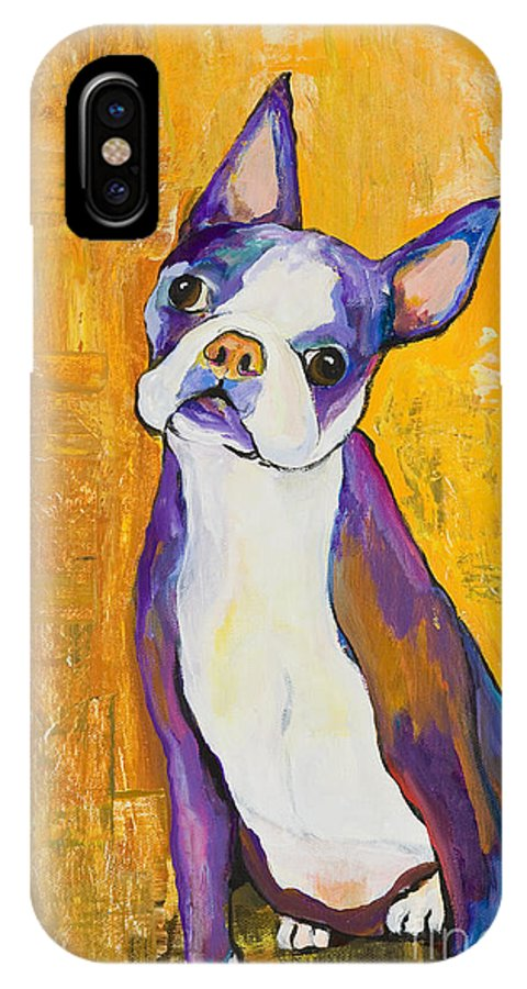 Boston Terrier Animals Acrylic Dog Portraits Pet Portraits Animal Portraits Pat Saunders-white IPhone X Case featuring the painting Cosmo by Pat Saunders-White