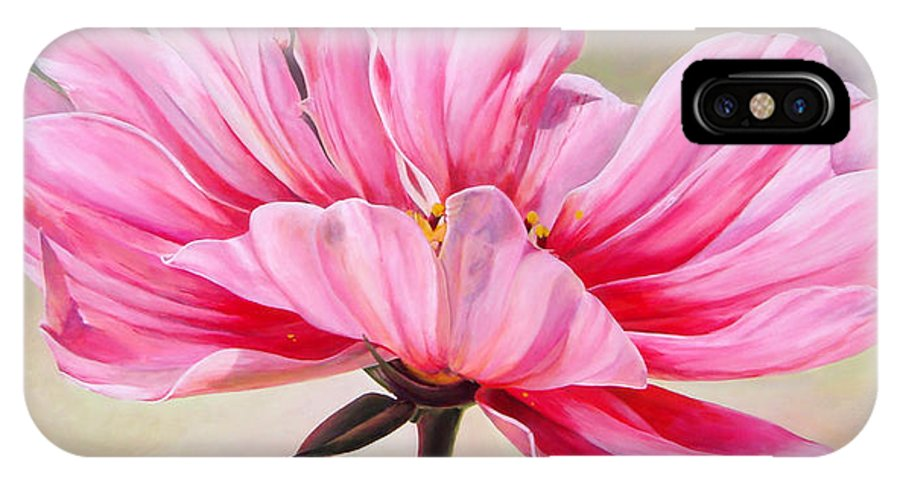 Floral Painting IPhone Case featuring the painting Cosmos De Bullion by Muriel Dolemieux