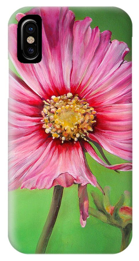 Floral Painting IPhone X Case featuring the painting Cosmos by Dolemieux muriel