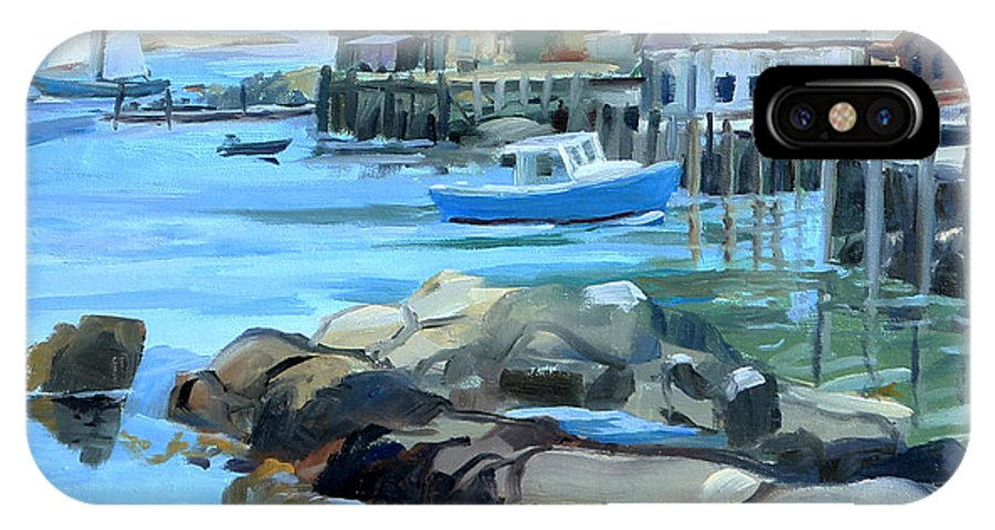Lobster Boat IPhone X / XS Case featuring the painting Costal Maine by Michael McDougall