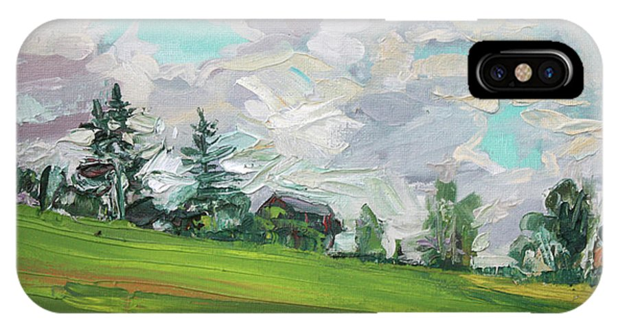 Summer IPhone X Case featuring the painting Cottage On The Hill by Andrei Belevich
