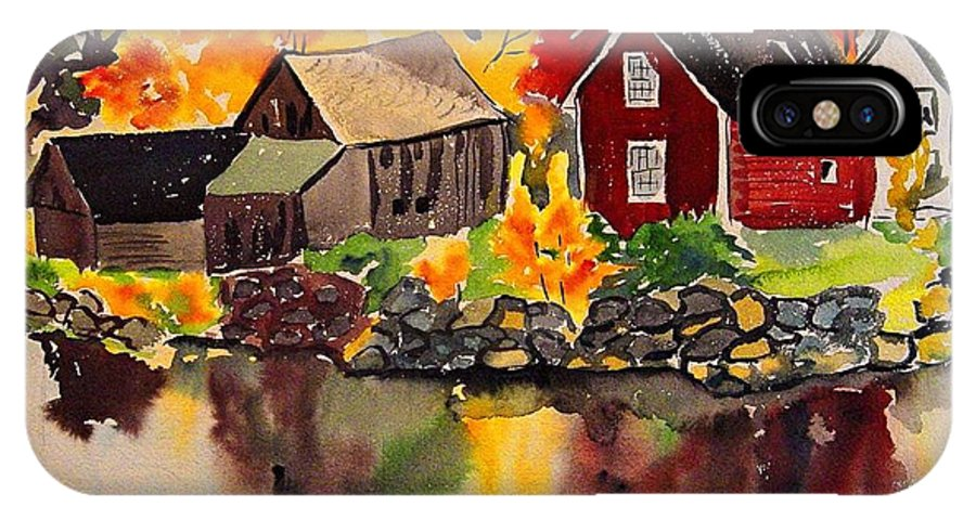 Autumn IPhone X Case featuring the painting Cottages By A Lake In Autumn by Jeri Borst