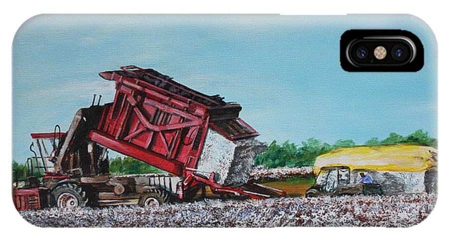 Cotton IPhone X Case featuring the painting Cotton Pickin' Business by Karl Wagner