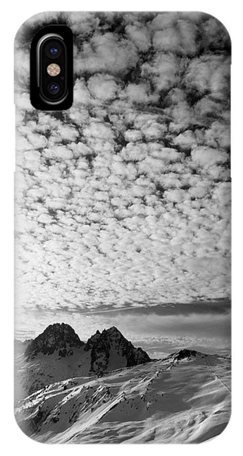 Sky IPhone X Case featuring the photograph Cotton Sky Chamonix France by Pierre Leclerc Photography