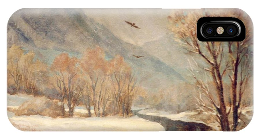 Winter IPhone X Case featuring the painting Cottonwood Winter by JoAnne Corpany
