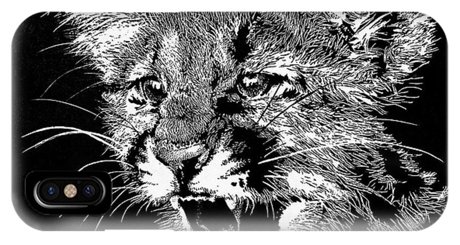 Black And White IPhone X Case featuring the drawing Cougar Cub by Judy Allen