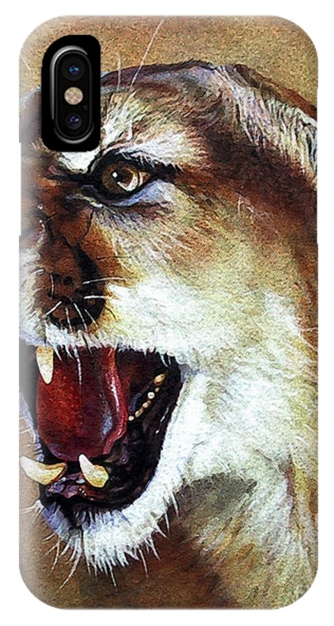 Southwest Art IPhone X Case featuring the painting Cougar by J W Baker