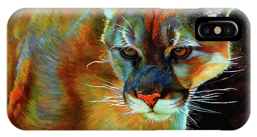 Wildlife IPhone X Case featuring the painting Cougar by Kelly McNeil