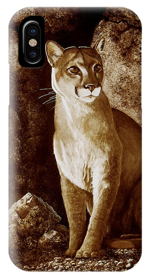 Cougar IPhone Case featuring the painting Cougar Wait Until Dark by Frank Wilson