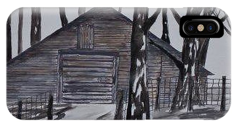 Watercolor Landscape Painting Barn Pen And Ink Drawing Print Original IPhone X Case featuring the painting COUNTRY BARN pen and ink drawing print by Derek Mccrea