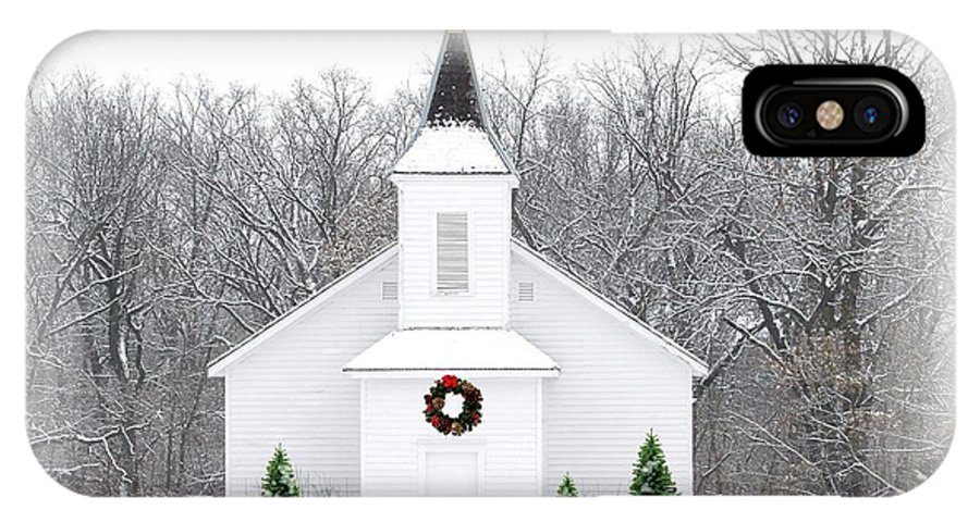Church IPhone X Case featuring the photograph Country Christmas Church by Carol Sweetwood