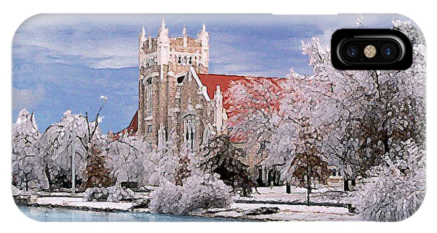 Winter IPhone X Case featuring the photograph Country Club Christian Church by Steve Karol