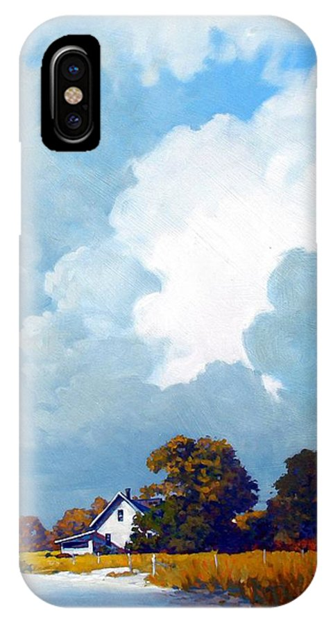 Landscape IPhone X Case featuring the painting Country Home by Kevin Lawrence Leveque