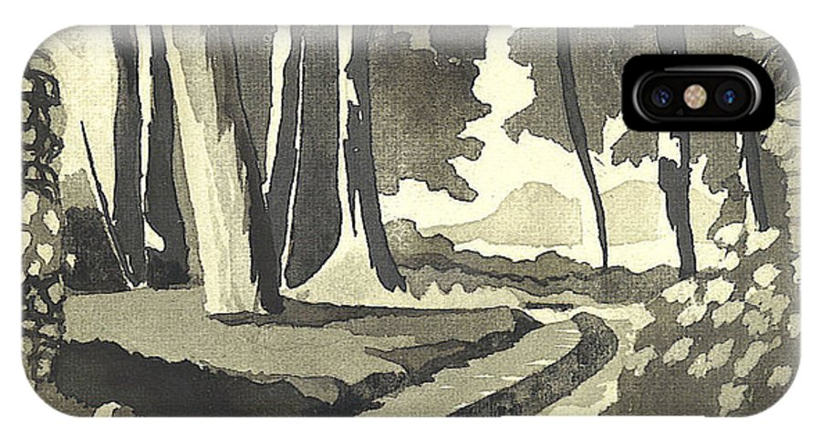 Rural IPhone X Case featuring the painting Country Lane In Evening Shadow by Kip DeVore