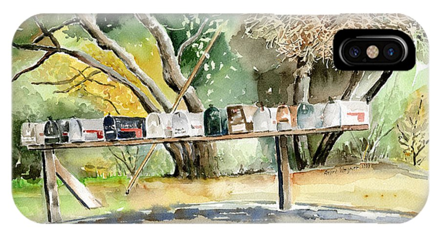 Mailboxes IPhone X Case featuring the painting Country Mailboxes by Arline Wagner