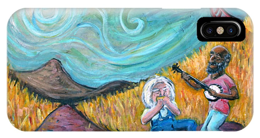 Country Music South Old Man Banjo Van Gogh Corn Field IPhone X Case featuring the painting Country Music by Jason Gluskin
