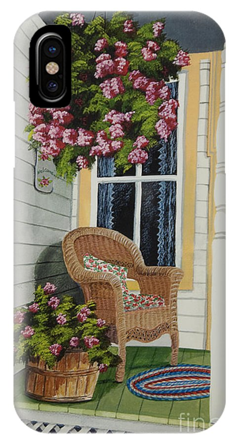 Country Porch IPhone X Case featuring the painting Country Porch by Charlotte Blanchard