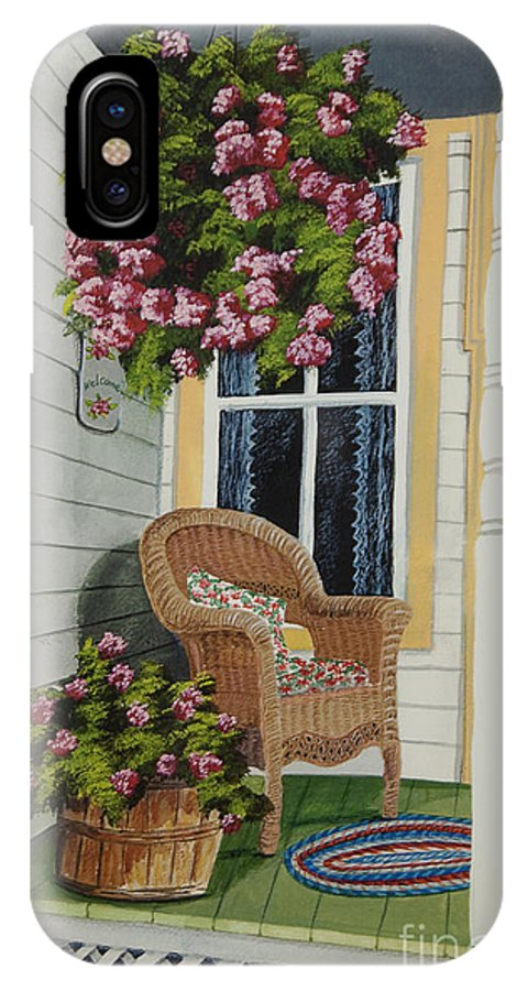 Country Porch IPhone X / XS Case featuring the painting Country Porch by Charlotte Blanchard