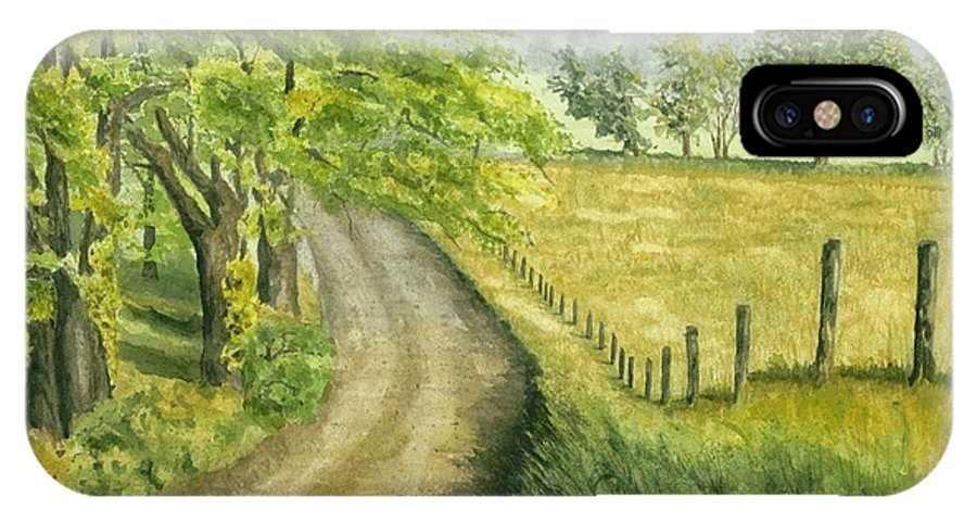 Country IPhone X Case featuring the painting Country Road by Mary Tuomi