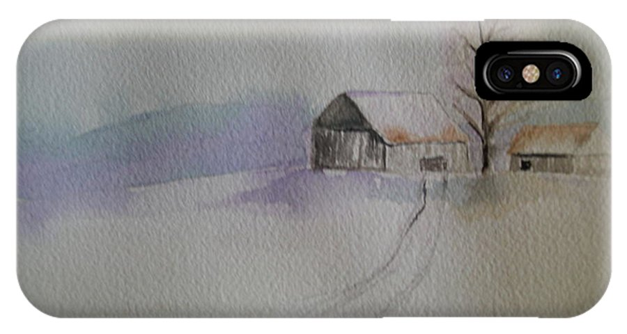Barn Snow Winter Tree Landscape Cold IPhone Case featuring the painting Country Snow by Patricia Caldwell