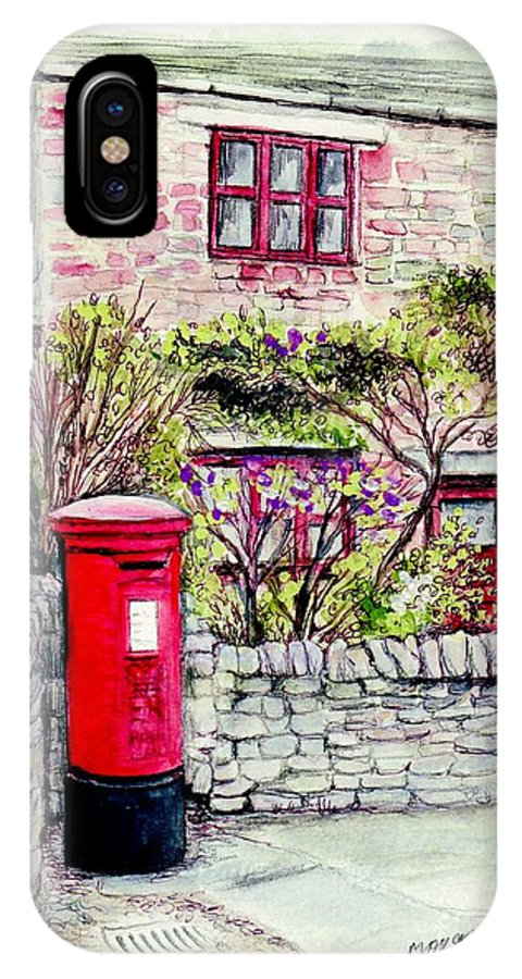Country IPhone X Case featuring the painting Country Village Post Box by Morgan Fitzsimons