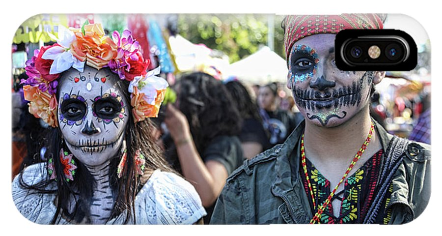 Dia De Los Muertos IPhone X Case featuring the photograph Couple Day Of Dead 2 by Chuck Kuhn
