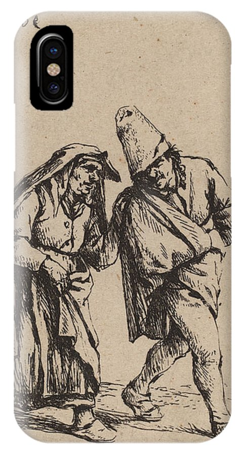 IPhone X Case featuring the drawing Couple Walking by Adriaen Van Ostade