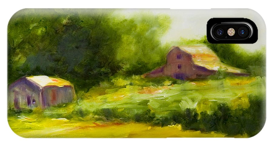 Landscape In Green IPhone Case featuring the painting Courage by Shannon Grissom