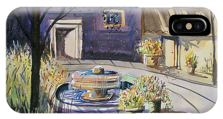 Watercolor IPhone X Case featuring the painting Courtyard In The Morning by Ryan Radke