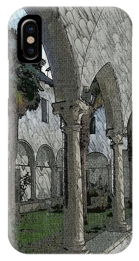 Italy IPhone X Case featuring the painting Courtyard by Kurt Hausmann