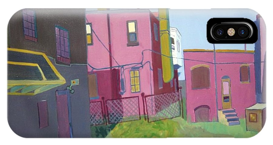 Alleyway IPhone X Case featuring the painting Courtyard View by Debra Bretton Robinson