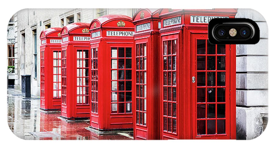 London IPhone X Case featuring the photograph Covent Garden Phone Boxes by Jane Rix