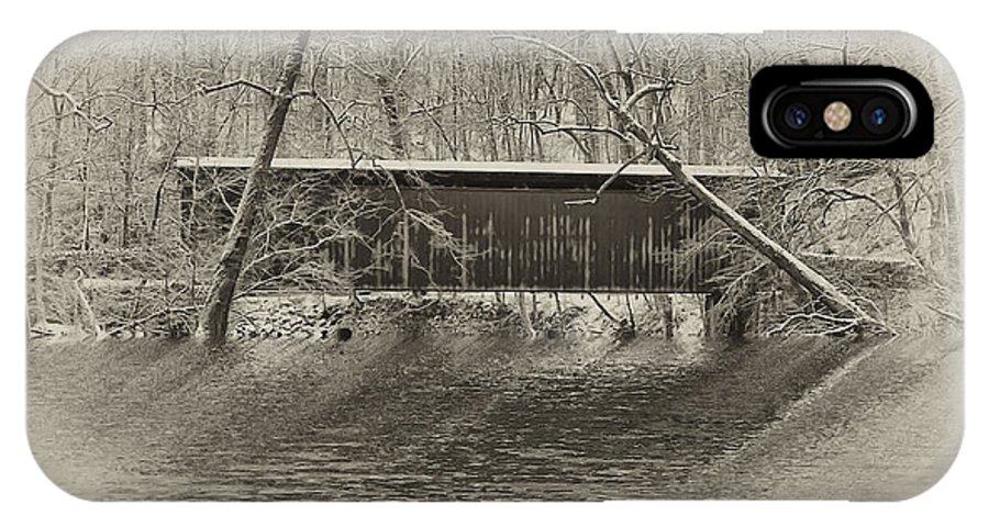 Philadelphia IPhone X Case featuring the photograph Covered Bridge In Black And White by Bill Cannon
