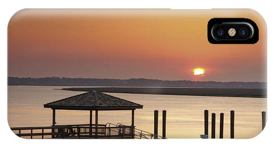 Sunset IPhone X Case featuring the photograph Covered Dock by Phill Doherty