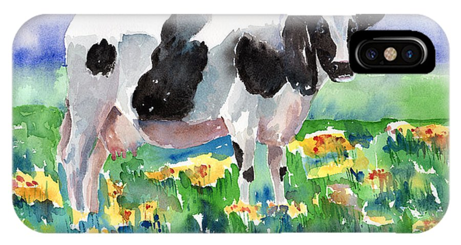 Cow IPhone X Case featuring the painting Cow In The Meadow by Arline Wagner
