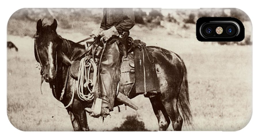 1887 IPhone X Case featuring the photograph Cowboy, 1887 by Granger