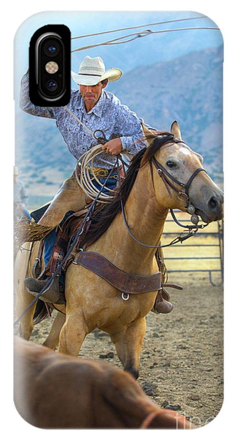 Cowboy IPhone X Case featuring the photograph Cowboy Roping A Steer by Diane Diederich