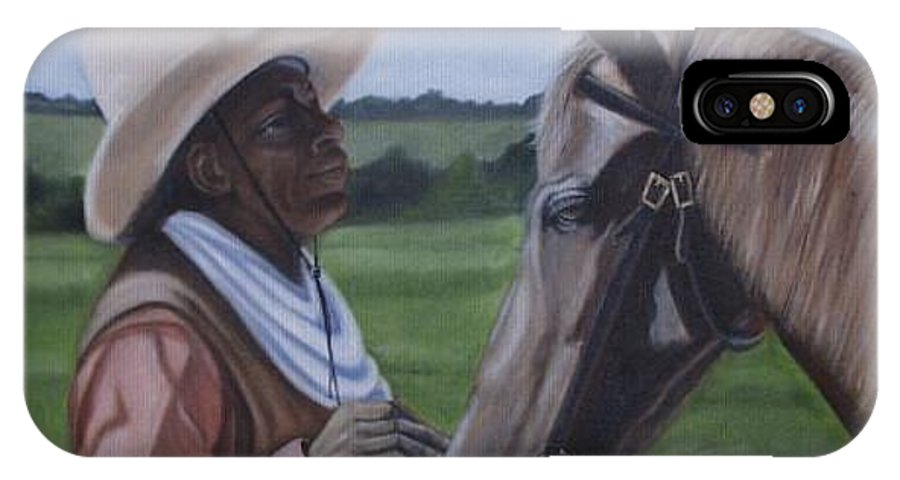 Portrait IPhone X / XS Case featuring the painting Cowboy2 by Toni Berry