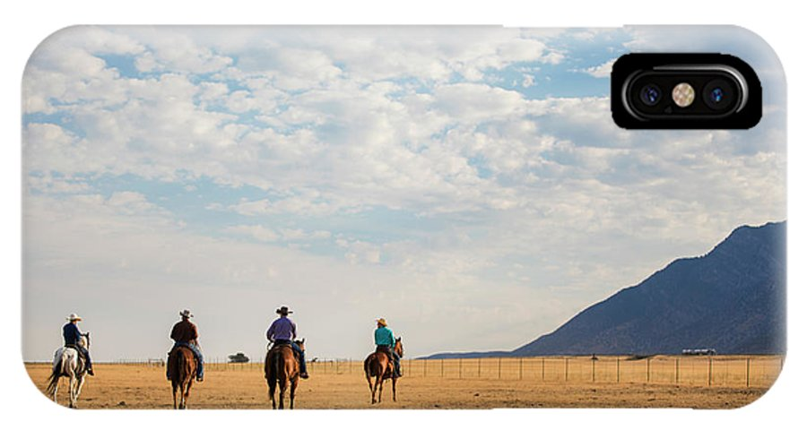 Cowboys IPhone X Case featuring the photograph Cowboys On The Open Range by Diane Diederich