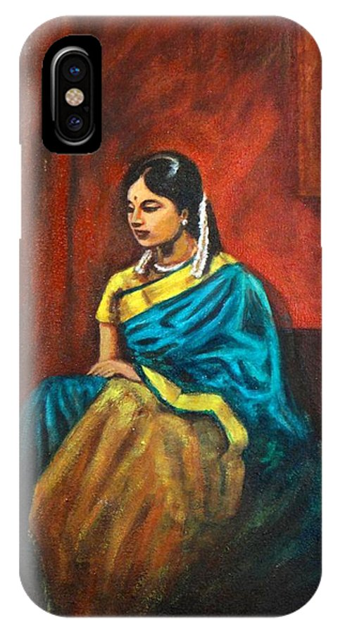 Coy IPhone X Case featuring the painting Coy by Usha Shantharam