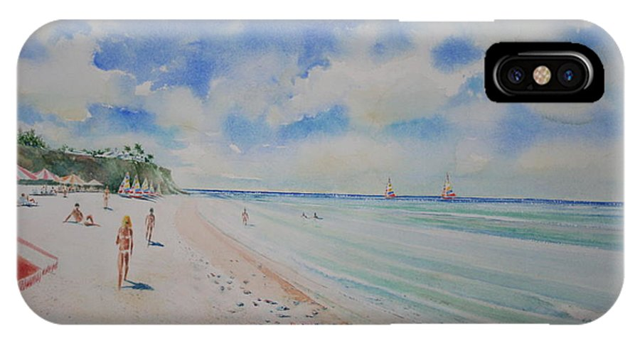 Sea Scape IPhone X Case featuring the painting Cozumel Mexico by Tom Harris