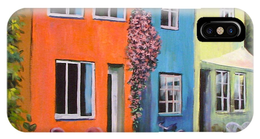 Cozy IPhone Case featuring the painting Cozy Street by Art Nomad Sandra Hansen