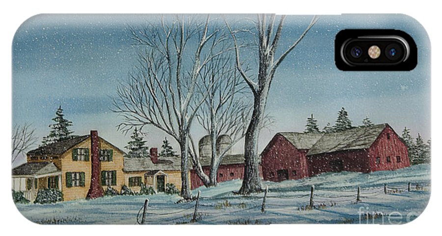 Farmhouse IPhone X Case featuring the painting Cozy Winter Night by Charlotte Blanchard